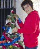 Albero di Natale e ritratto felice del ragazzo Immagine Stock Libera da Diritti