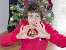 Albero di Natale e ritratto felice del ragazzo Fotografie Stock