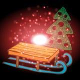 Albero di Natale e sci con il Natale fondo ed il vettore della cartolina d'auguri Illustrazione Vettoriale
