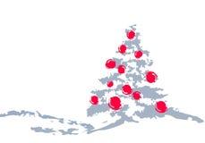 Albero di Natale e sfere rosse Fotografia Stock Libera da Diritti