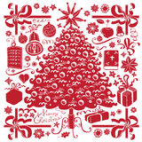 Albero di Natale e simboli Immagini Stock Libere da Diritti