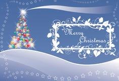Albero di Natale e stelle con testo Fotografia Stock Libera da Diritti