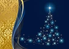 Albero di Natale e stelle su priorità bassa blu Fotografie Stock Libere da Diritti