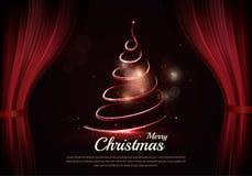Albero di Natale e testo bruciante dietro le scene Fotografia Stock