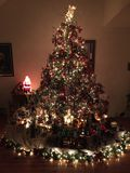 Albero di Natale e villaggio Fotografia Stock