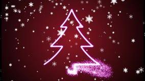 Albero di Natale ed animazione scintillante dei fiocchi di neve stock footage