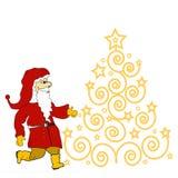 Albero di Natale ed il Babbo Natale Fotografia Stock Libera da Diritti