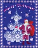 Albero di Natale ed il Babbo Natale illustrazione di stock
