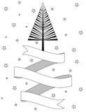 Albero di Natale ed insegna in bianco e nero del nastro Fotografie Stock Libere da Diritti