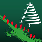 Albero di Natale ed uccelli Fotografie Stock Libere da Diritti