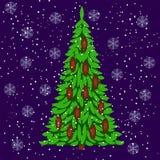 Albero di Natale Elementi per le cartoline di Natale di progettazione Immagini Stock Libere da Diritti