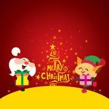 Albero di Natale, elfo sveglio ed il Babbo Natale felice Immagine Stock Libera da Diritti
