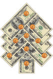 Albero di Natale fatto dai dollari Immagine Stock Libera da Diritti