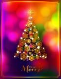 Albero di Natale fatto dai fiocchi di neve dorati Immagini Stock Libere da Diritti