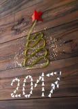 Albero di Natale fatto dal nastro Fotografia Stock