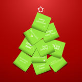 Albero di Natale fatto dal post-it Immagini Stock