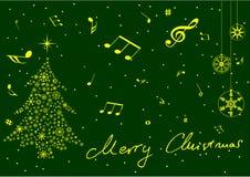 Albero di Natale fatto dalle stelle e dalle note di musica Fotografie Stock