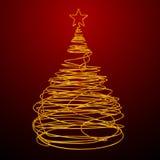 Albero di Natale fatto del cavo dell'oro Fondo rosso Immagini Stock Libere da Diritti