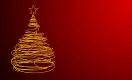 Albero di Natale fatto del cavo dell'oro Fondo rosso Fotografia Stock