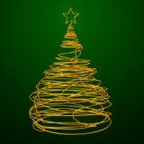 Albero di Natale fatto del cavo dell'oro Fondo verde Fotografie Stock Libere da Diritti