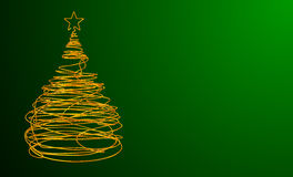 Albero di Natale fatto del cavo dell'oro Fondo verde Immagine Stock Libera da Diritti