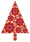Albero di Natale fatto delle mandale nel colore rosso royalty illustrazione gratis