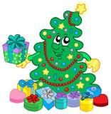 Albero di Natale felice con i regali Fotografie Stock Libere da Diritti