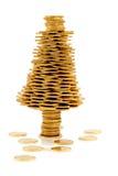 Albero di Natale felice fatto delle monete di oro Immagine Stock