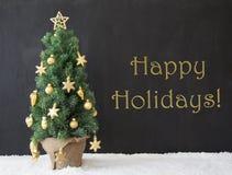 Albero di Natale, feste felici, calcestruzzo nero Fotografie Stock Libere da Diritti