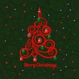 Albero di Natale florido modellato su un fondo verde e sul Buon Natale di parole Campione del manifesto, partito illustrazione vettoriale