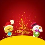 Albero di Natale, gatto sveglio ed elfo felice Fotografie Stock Libere da Diritti
