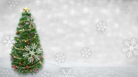 Albero di Natale girante sul fondo di inverno con l'animazione delle precipitazioni nevose 3d rendono Ciclo senza cuciture stock footage