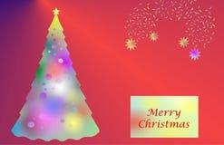 Albero di Natale illuminato Immagini Stock Libere da Diritti
