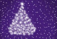 Albero di Natale lanuginoso sul fondo della lavanda illustrazione di stock