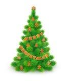 Albero di Natale lanuginoso verde con il pan di zenzero, su fondo bianco illustrazione di stock