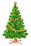 Albero di Natale lanuginoso verde con il pan di zenzero, su fondo bianco illustrazione vettoriale