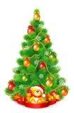 Albero di Natale lanuginoso verde con le palle variopinte, i fiocchi di neve e le ghirlande illustrazione vettoriale