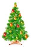 Albero di Natale lanuginoso verde con le palle variopinte, i fiocchi di neve e le ghirlande royalty illustrazione gratis