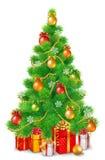 Albero di Natale lanuginoso verde con le palle variopinte, i fiocchi di neve e le ghirlande Sotto l'albero sono i regali di Natal illustrazione di stock
