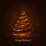 Albero di Natale magico Fondo dell'oro Immagine Stock