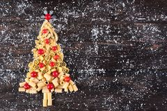 Albero Di Natale di makaron Fotografia Royalty Free