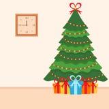 Albero di Natale Molti regali da Santa Interno della stanza nello stile piano Vettore Immagine Stock