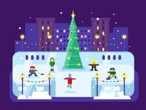 Albero di Natale municipale della pista di pattinaggio Immagine Stock Libera da Diritti