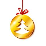 Albero di Natale nel cerchio dorato Immagini Stock Libere da Diritti