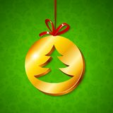 Albero di Natale nel cerchio dorato Fotografia Stock Libera da Diritti