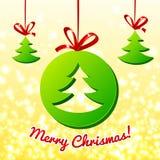 Albero di Natale nel cerchio verde Fotografie Stock