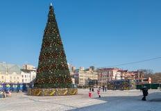 Albero di Natale nel quadrato centrale di Vladivostok Immagine Stock