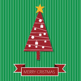 Albero di Natale nella carta di Buon Natale Fotografia Stock