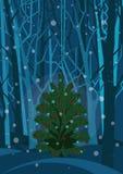 Albero di Natale nella foresta di inverno illustrazione di stock