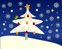 Albero di Natale nella neve Immagini Stock Libere da Diritti
